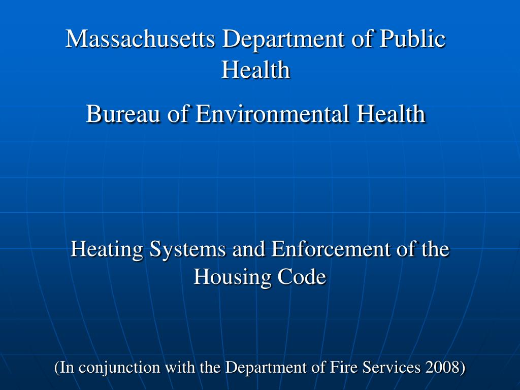 massachusetts department of public health bureau of environmental health l.