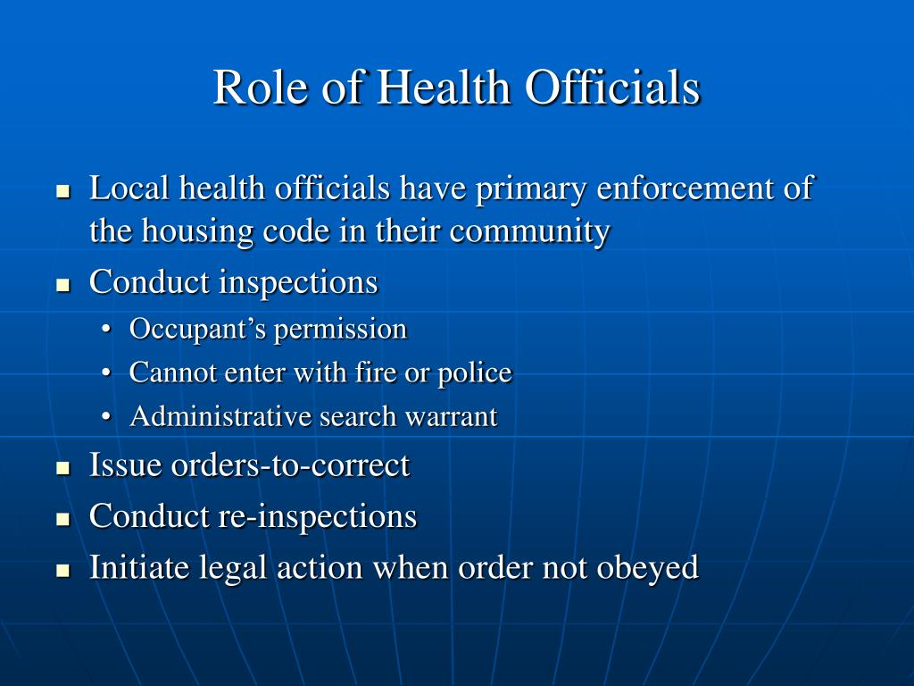 Role of Health Officials