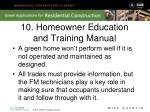 10 homeowner education and training manual