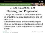 2 site selection lot planning and preparation