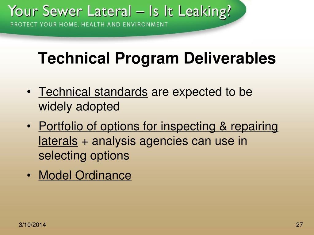 Technical Program Deliverables