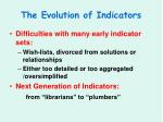 the evolution of indicators