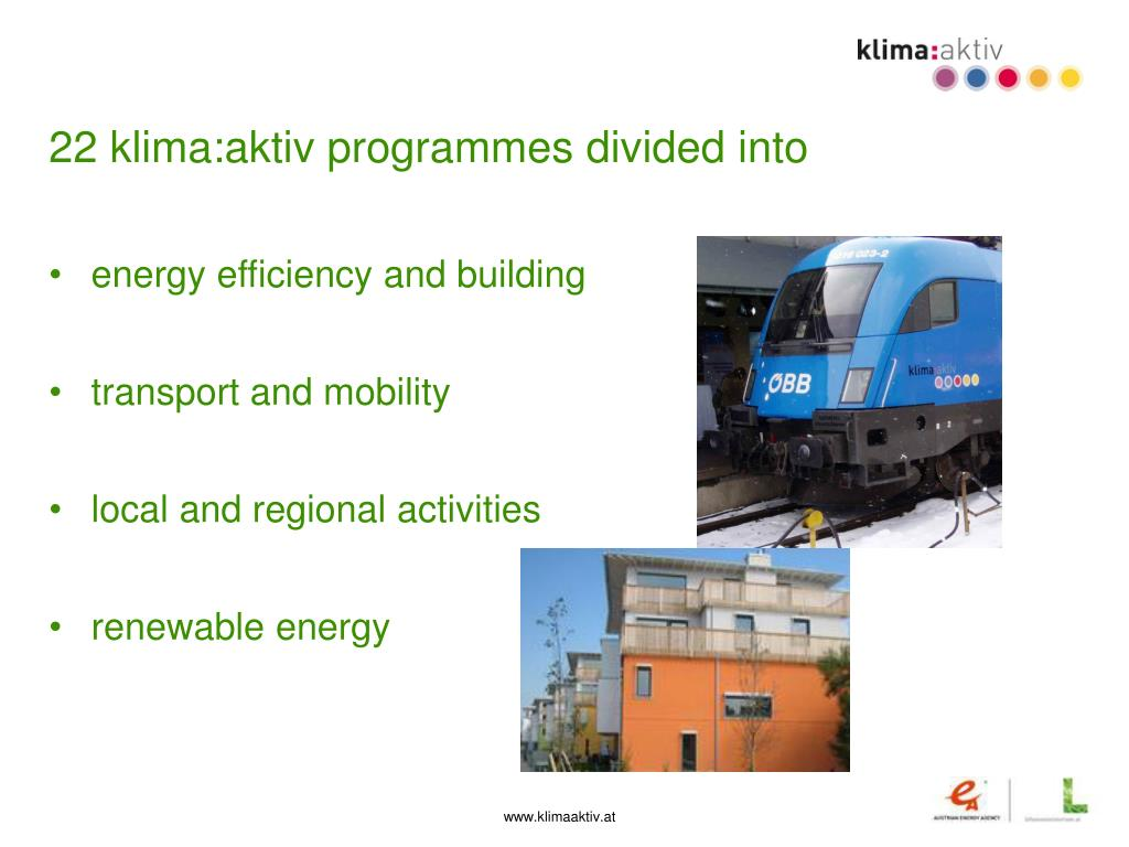 22 klima:aktiv programmes divided into