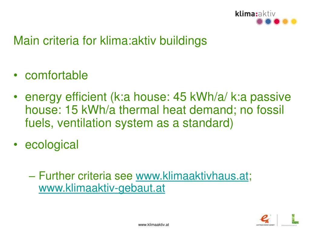 Main criteria for klima:aktiv buildings