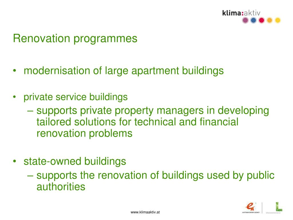 Renovation programmes