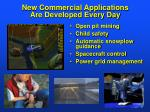 new commercial applications are developed every day