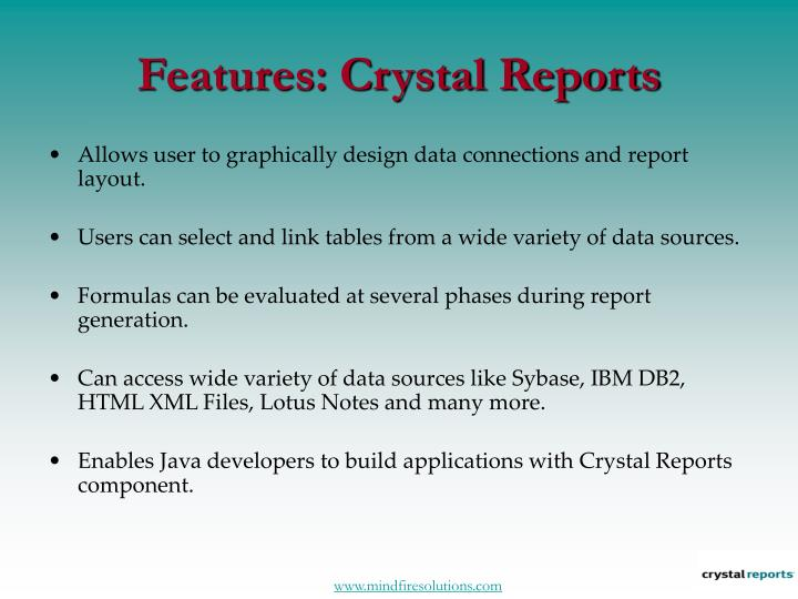 Features crystal reports