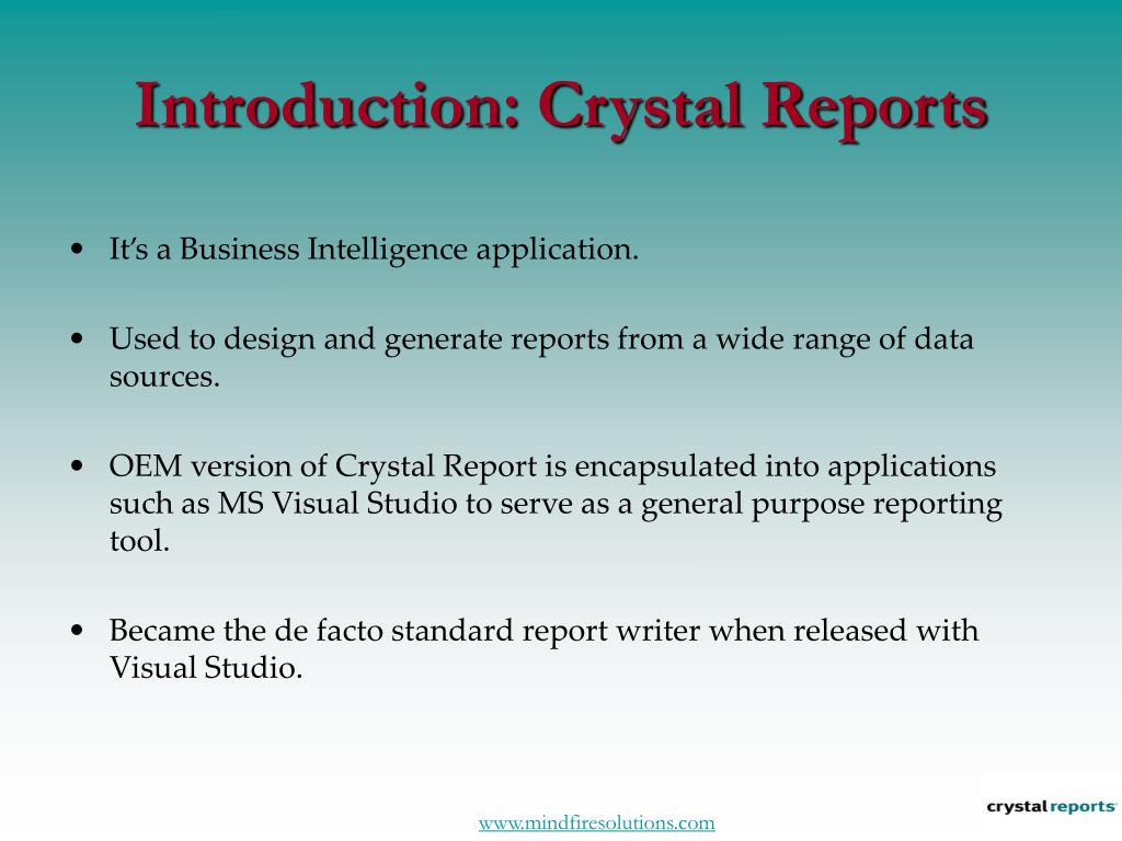 Introduction: Crystal Reports