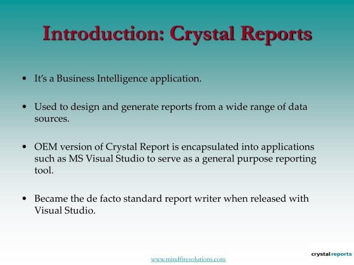 Introduction crystal reports
