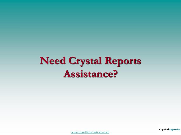 Need crystal reports assistance