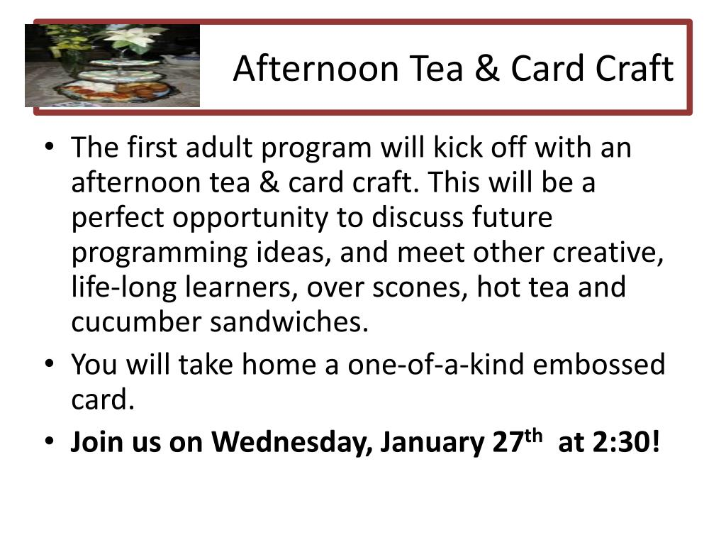 Afternoon Tea & Card Craft