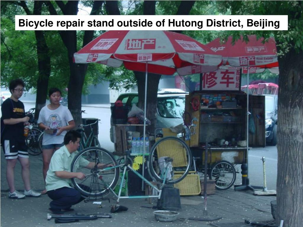 Bicycle repair stand outside of Hutong District, Beijing