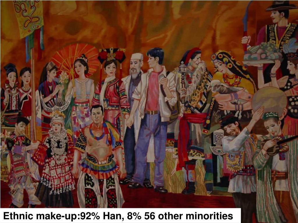 Ethnic make-up:92% Han, 8% 56 other minorities