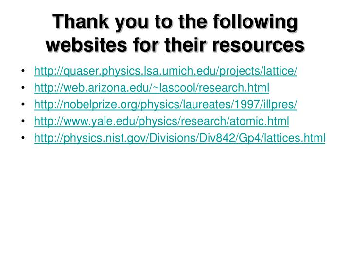 Thank you to the following websites for their resources