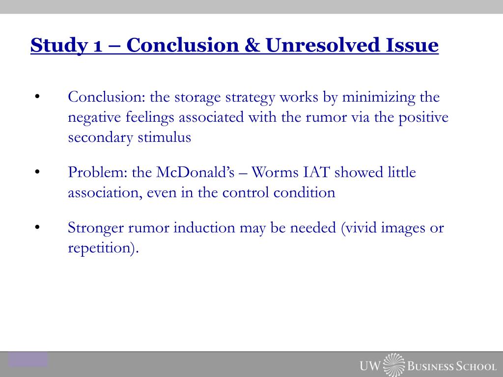 Study 1 – Conclusion & Unresolved Issue