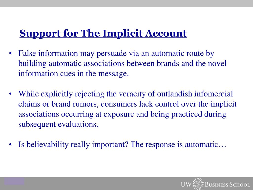 Support for The Implicit Account