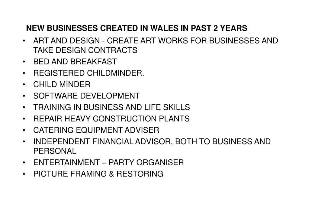 NEW BUSINESSES CREATED IN WALES IN PAST 2 YEARS