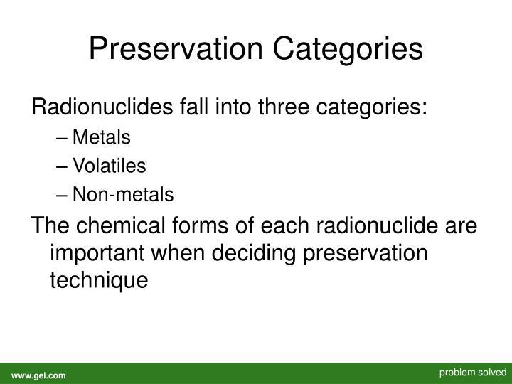 Preservation Categories