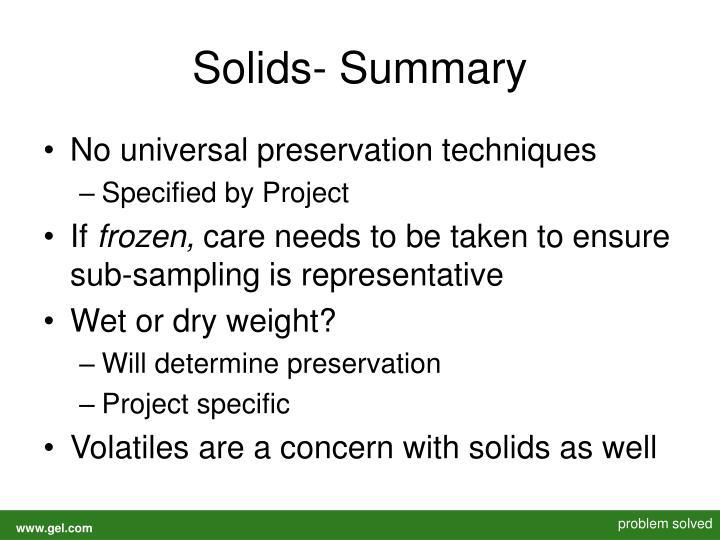 Solids- Summary