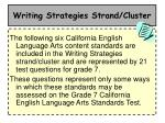 writing strategies strand cluster