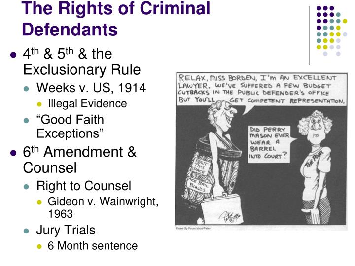 rights guaranteed to criminal defendants The bill of rights promises fair treatment and constitutional rights for criminal defendants there are two fundamental aspects of the us criminal justice system: the presumption that the defendant is innocent, and the burden on the prosecution to prove guilt beyond a reasonable doubt.