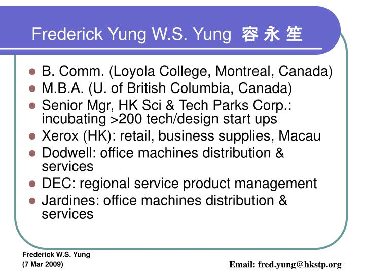 Frederick yung w s yung