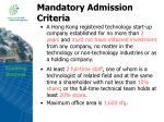mandatory admission criteria