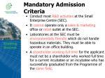 mandatory admission criteria12