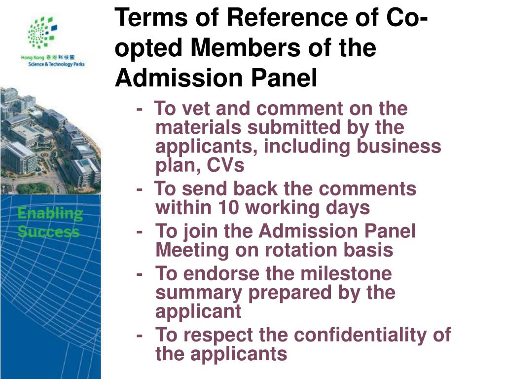 Terms of Reference of Co-opted Members of the Admission Panel