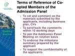 terms of reference of co opted members of the admission panel