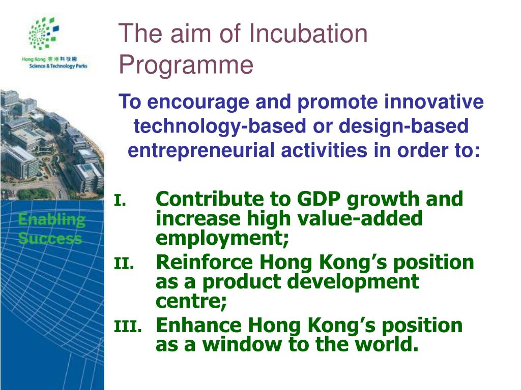The aim of Incubation Programme