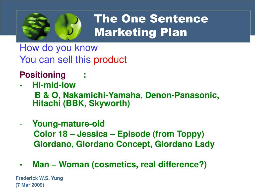 The One Sentence Marketing Plan