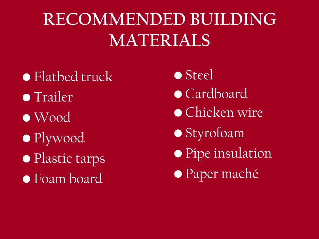 RECOMMENDED BUILDING MATERIALS