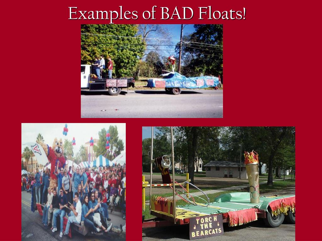 Examples of BAD Floats!