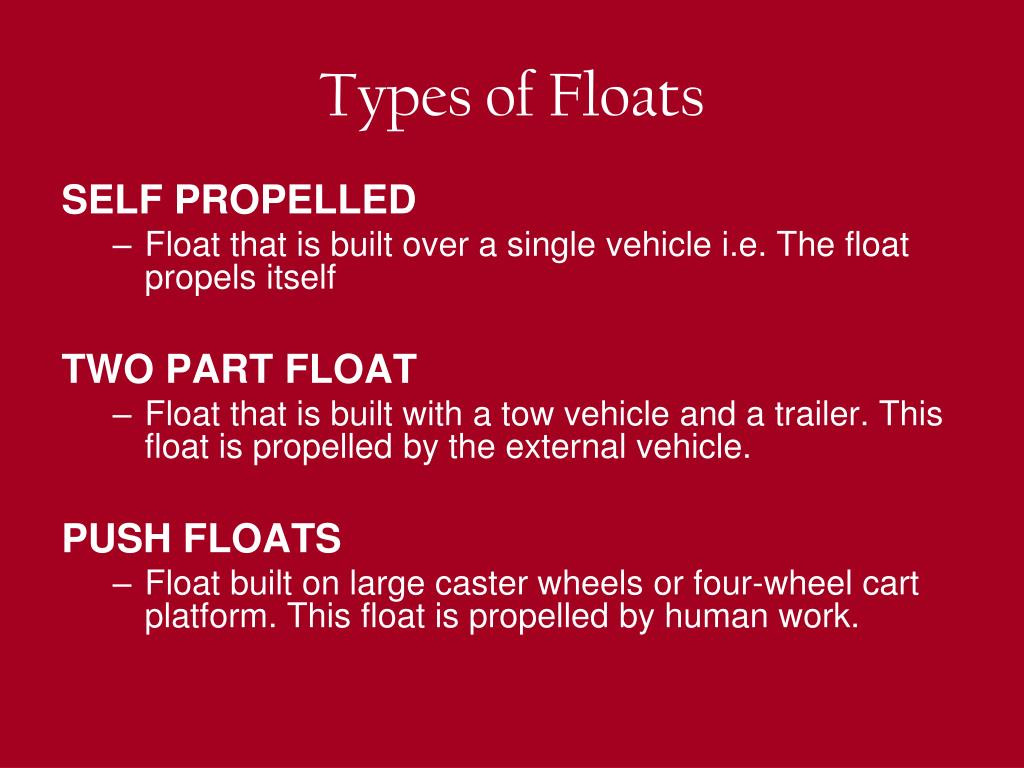 Types of Floats