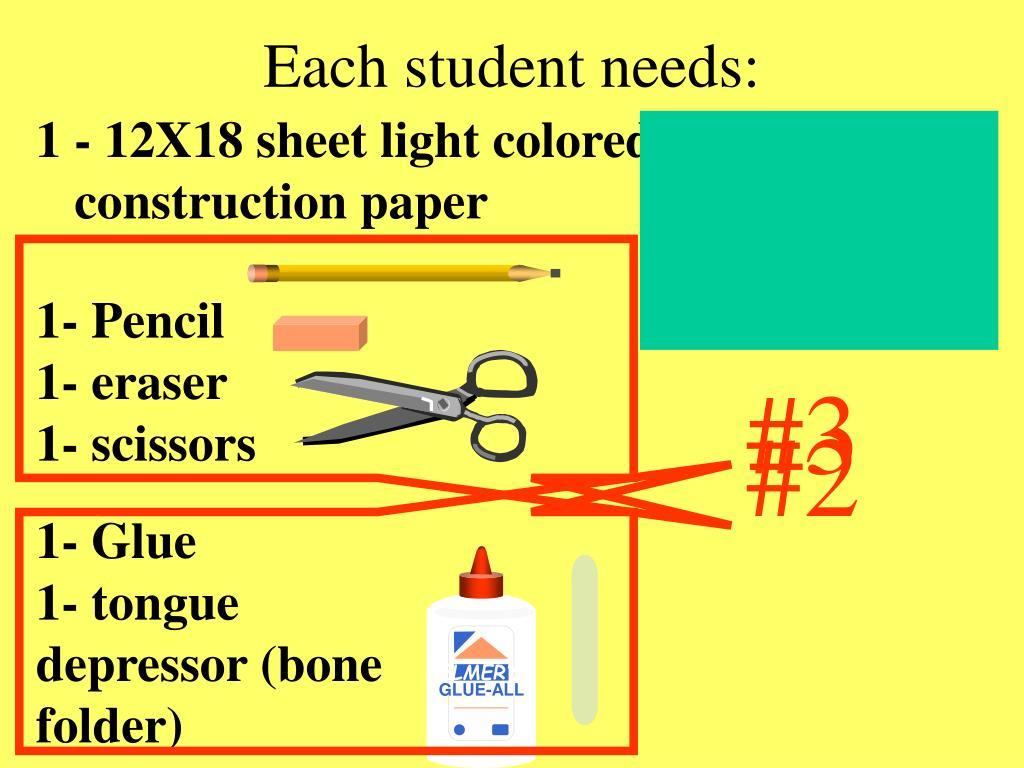 1 - 12X18 sheet light colored construction paper
