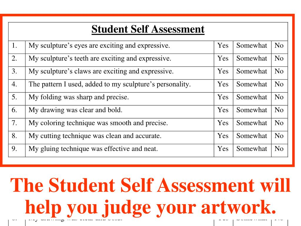 Self Assessment Sheet
