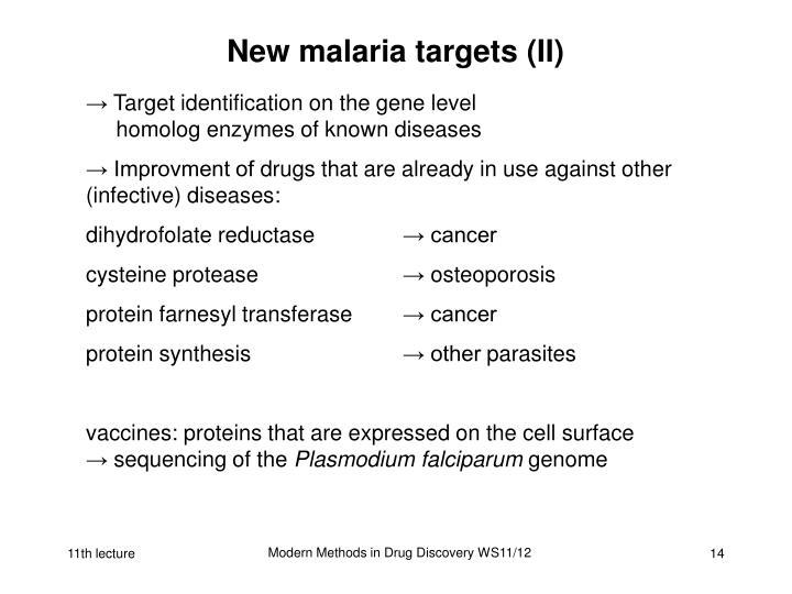 New malaria targets (II)