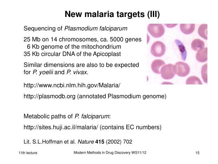 New malaria targets (III)