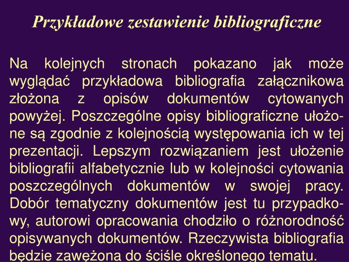 Przykładowe zestawienie bibliograficzne