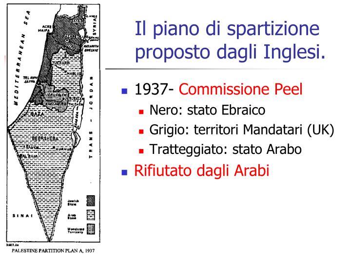 Il piano di spartizione  proposto dagli Inglesi.