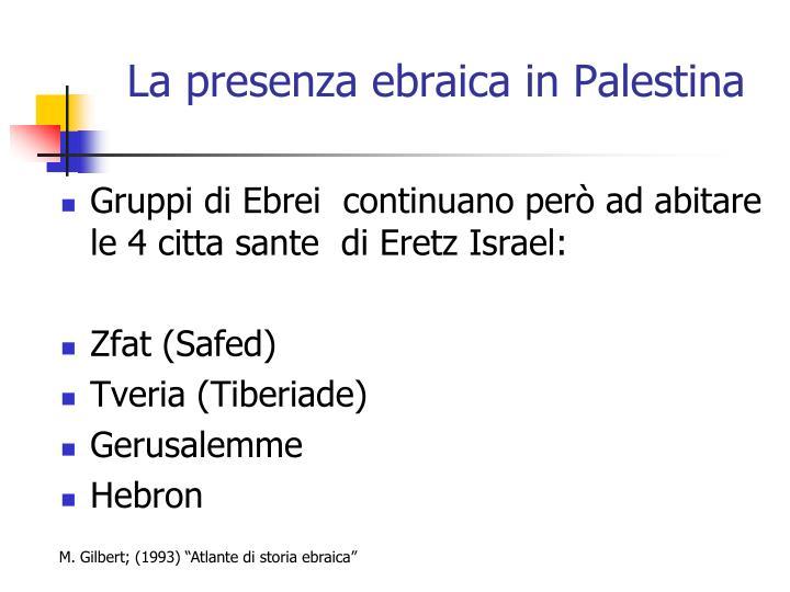 La presenza ebraica in Palestina