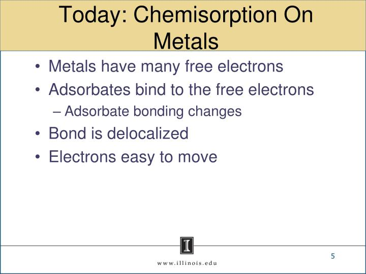 Today: Chemisorption On Metals