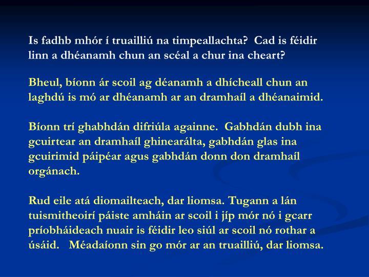 Is fadhb mhór í truailliú na timpeallachta?  Cad is féidir linn a dhéanamh chun an scéal a chur ina cheart?