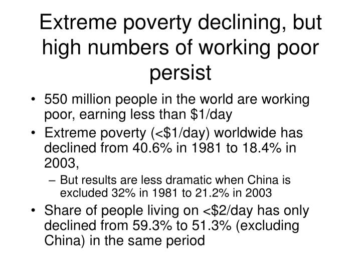 Extreme poverty declining, but high numbers of working poor persist