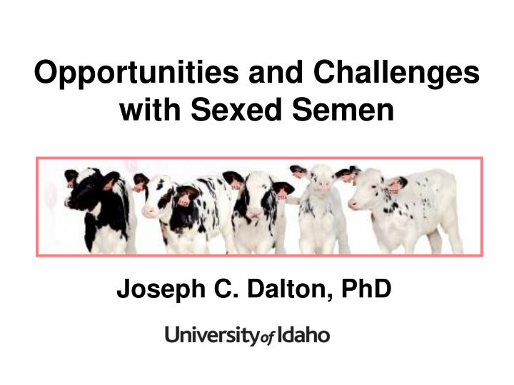 opportunities and challenges with sexed semen n.
