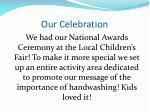 our celebration