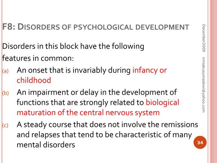 F8: Disorders of psychological development