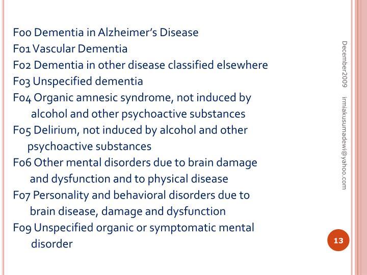 F00 Dementia in Alzheimer's Disease