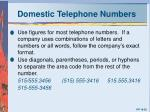 domestic telephone numbers